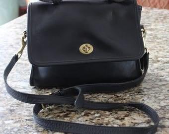 Vintage Black Leather Authentic Coach Court Top Handle Cross Body Purse # 9870