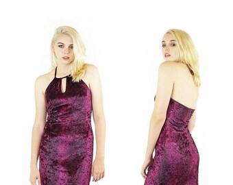 ON SALE Guess 90s Snakeskin Velvet Mini Dress, Maroon And Black Velvet Halter Dress, 90s Vintage Guess, Women's Size Small/Medium