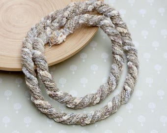 Beige spiral loop necklace, crochet skinny scarf, long chunky necklace, fiber statement jewelry