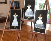 wedding dress  Set of 3 paintings Dolls House Miniature Painting DollHouse bride bridal gown