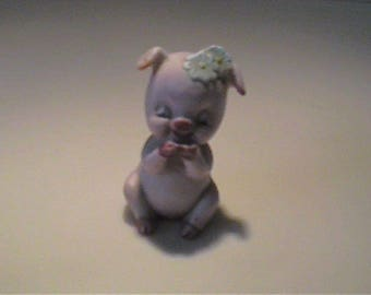Vintage 1960's miniature pink porcelain pig with daisies on her head