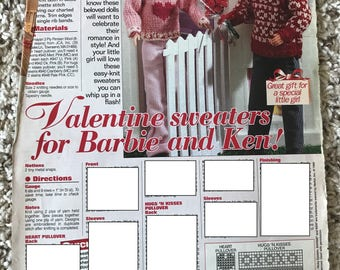 Valentine's Day Sweaters for Barbie and Ken, 1999