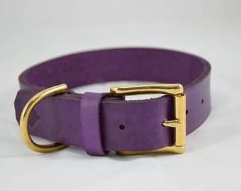 The Undomiel Collar: Deep Violet Leather Dog Collar