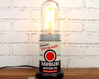 Repurposed Vintage Texaco Havoline Motor Oil Can Lamp, Upcycled Accent Lamp, Man Cave Decor, Glass Dome Light Fixture, Red White Blue Colors