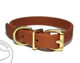 "Milk Chocolate 3/4"" (19mm) Beta Biothane Dog Collar - Leather Look and Feel - Custom Dog Collar - Stainless Steel or Brass Hardware"