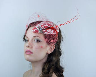 Candy Cane Fascinator Red and White Velvet and Lace with Feathers and Spotted Veil