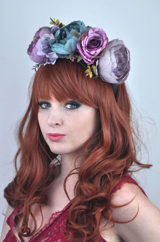 Blue And Purple Autumn Flower Crown Headpiece Fall Headpiece