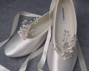 Wedding Ivory Flats Crystals and pearls,Ballet Style Ivory slippers, Bridal Flat Shoes Ivory, Poinsettia,Snowflake, Romantic, Lace Up Ribbon