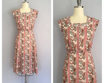 Chinoiserie dress   1970s floral dress   70s Asian print dress   s