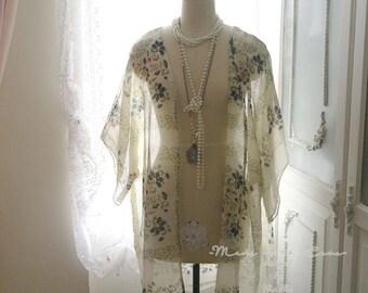 Gypsy Floral Kimono Cardigan Jacket Beige Top Blouse Great Gatsby Robe boho bohemian Japan Kimono Jacket Beach Coverup