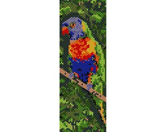 Lorikeet 3 Peyote Bead Pattern, Bird Bracelet Pattern, Bookmark Pattern, Seed Beading Pattern Delica Size 11 Beads - PDF Instant Download