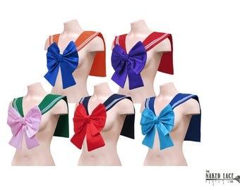 Sailor Moon Senshi Cosplay Collar Costume Adult Sailor Fuku / Seifuku (制服) Cosplay Front Large Bow