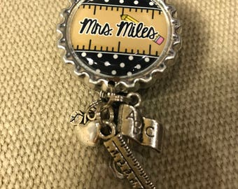 Personalized Badge Reel for Teachers with Charms - Your Choice of Style and Colors