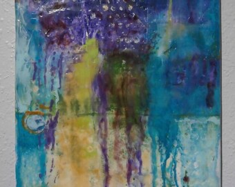 "Encaustic painting on 11' x 14"" x 1/2"" canvas, abstract wall art by donna sledge DCS Studio"