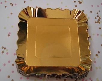 Gold Metallic Appetizer Plates ~ Dessert Plates ~ Small Plates ~ Gold Plates ~ Snack Plates