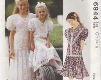 Girls Alicyn Summer Dress Pattern McCalls 6944 Sizes 7 8 10 Uncut