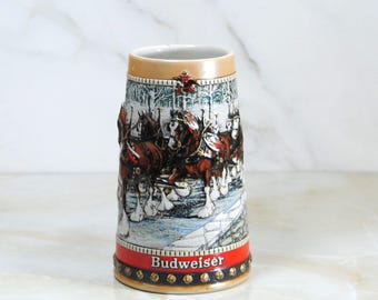 Vintage Budweiser Beer Stein,1988, Collectors Series, Clydesdales, Handcrafted, Anheuser Busch, Christmas, Holiday, Ceramic