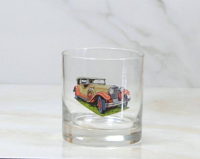 Vintage Walker's, Deluxe, Bourbon Whiskey, Rocks Style Glass, 1973, Straight 8, Collection, 1929, Stutz, Speedster, Classc Car, Barware