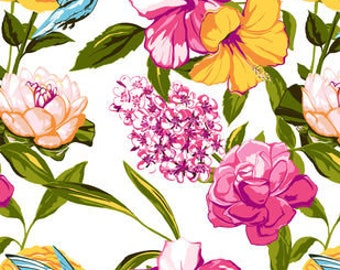 Snuggle Flannel Fabric - Hummingbird Floral - Sold by the Yard
