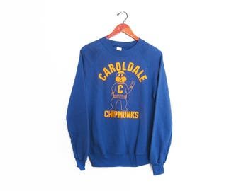 vintage sweatshirt / raglan sweatshirt / 70s sportswear / 1970s blue collegiate raglan Chipmunks sweatshirt Medium