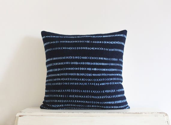 "Chevron indigo shibori African mudcloth pillow cushion cover 20"" x 20"""