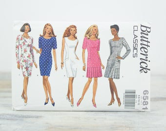 Misses 16, 8, 10 12, Semi fitted dress w/ straight skirt or dropped waist pleated skirt, Butterick (6581) Sewing Pattern