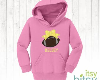 Girl's Football Hoodie, Football with Bow, Personalized Toddler Sweatshirt, Youth Hoodie, Customized with Name Embroidery, Football