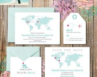 Destination Wedding Invitation printables, beach wedding, Map invitation, Customized DIY wedding, turquoise