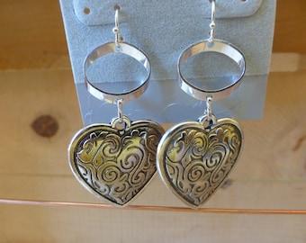 Silver heart earrings, pierced