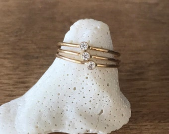 Ring, super thin gold filled stacking ring with cz, cubic zirconia ring, thin gold ring