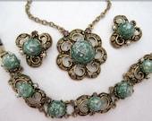 Green Confetti Jewelry Set - Necklace Bracelet Earrings - Brass Setting - Victorian Revival - 60's Parure