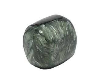 Seraphinite Clinochlore Rare Semiprecious feather stone, Green with silver wings chatoyancy Tumble Polished Siberia Loose Geo Gemstone Jewel