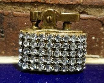 Tricketts Rhinestone Lighter 1950s Wiesner Rhinestone Cigarette Lighter Tobacciana Hollywood Regency Mid Century Collectible Lighter DD 1325