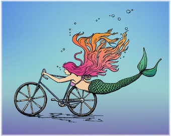 Mermaid on a Bike Print, Cycles Gladiator