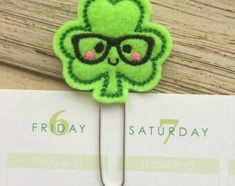 Shamrock Nerd Gifts, Irish Gifts, St Patricks Day Gift, Clover Gifts, Nerd Planner Clip, Nerd Bookmarks, Irish Bookmark - Pick Color