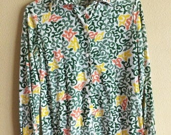 Amazing 70s Girl Scout Patterned Blouse // vintage