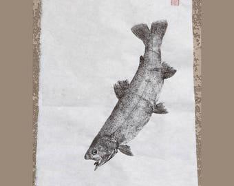 RAINBOW TROUT (Niji Masu)  Original Gyotaku - traditional Japanese fish art by dowaito (3)