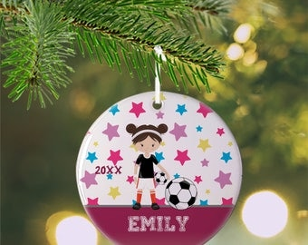 Personalized Kids Ornament - Sports Girl Stars Pink Solid Bar, Children Christmas Ceramic Circle Heart Snowflake Star