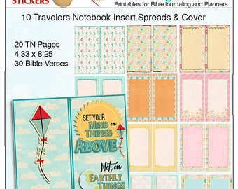 """Travelers Notebook Cover & Pages  """"Set Your Mind on Things Above""""  A Cover and 10 Spreads (20 pages) no clip art"""