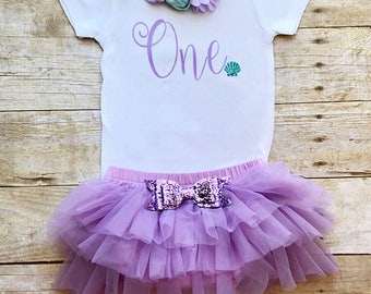 Mermaid birthday outfit girl, first birthday outfit girl, mermaid birthday outfit, Seashell birthday, first birthday outfit, under the sea,