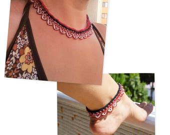 Necklace, Crochet Necklace, Oya Necklace, Boho Necklace, Flower Necklace, Needle Lace Necklace, Crochet Jewelry, Beaded Crochet Necklace