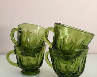Vintage Green Indiana glass coffee tea cups set of 4, 1970s green glass