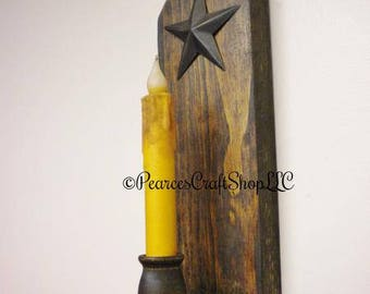 Clipped Corner Candle Sconce with Star - Made To Order, Primitive Candle Holders, Country Farmhouse Decor