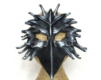 Leather Raven Mask, Handcrafted Leather Crow Mask, Black and Silver Layered Black Bird Art Mask (M169)