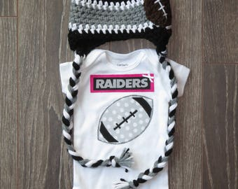 Raiders baby onsie or onsie/hat set