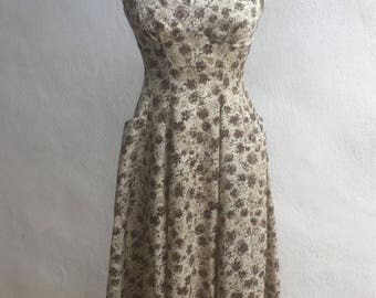 Vintage Rockabilly summer dress brown floral taffeta fabric pockets sz S