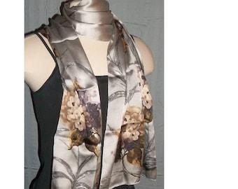 Vintage, ECHO Silk Scarf, Long Wrap, Elegant Hand Painted,  Neutral Colors