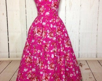 Vintage strapless floral dress - Laura Ashley full circle skirt dress - 1980s Does 1950s Style - Pink flowers - Prom Wedding - Small
