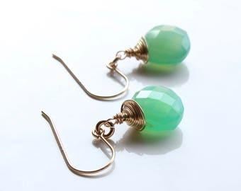 Chrysoprase Earrings, Goldfilled wire wrap, mint green gemstone teardrop, simple minimalist dangle drop earrings, holiday gift for her, 4344