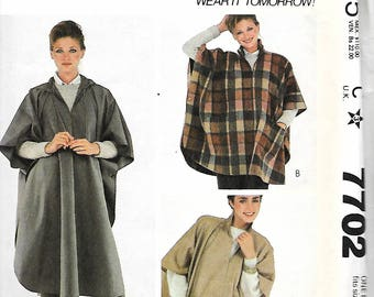 McCall's 7702 Make It Tonight Sewing Pattern, Misses Poncho, Sizes 6-20